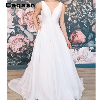 2020 New Design Cheap A Line Satin Wedding Dresses Simple Elegant Court Train Bridal Gowns Zipper with Buttons Custom Size