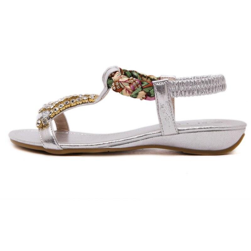 Exquisite weibliche Sandalen Schuhe mit Mode Schuhe Gold Silber - Damenschuhe - Foto 3