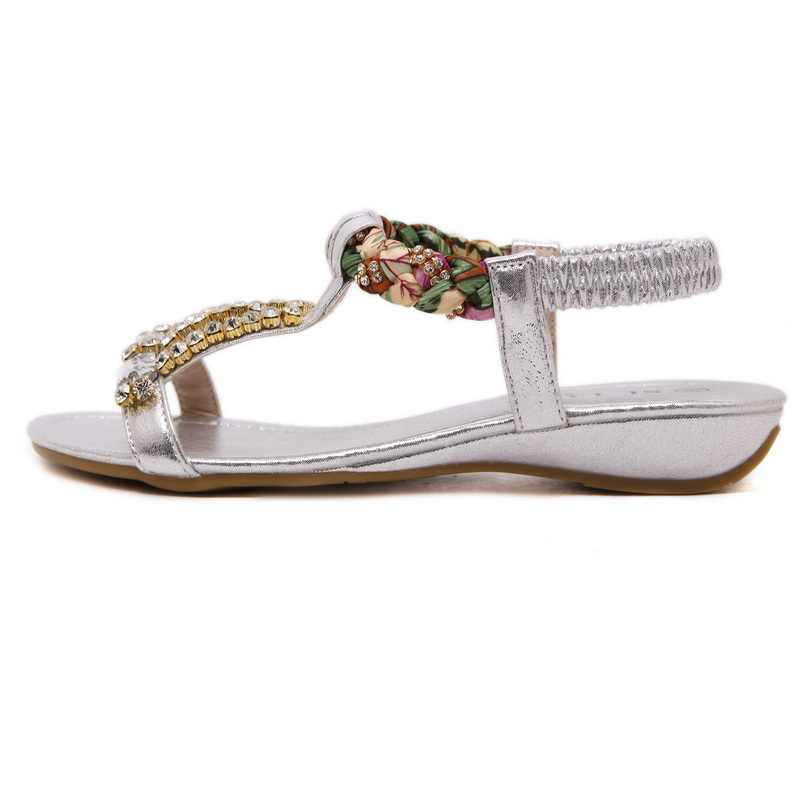 Exquisite Female Sandals Shoes With Fashion Shoes Gold Silver Black Three Colors Optional Metal Buckle Rhinestone Wedge Shoes