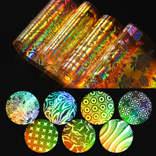 16Pcs Holo Gold Starry Nail Foil Flower Star Paper 4*20cm Manicure Nail Art Transfer Sticker for Nail Decorations