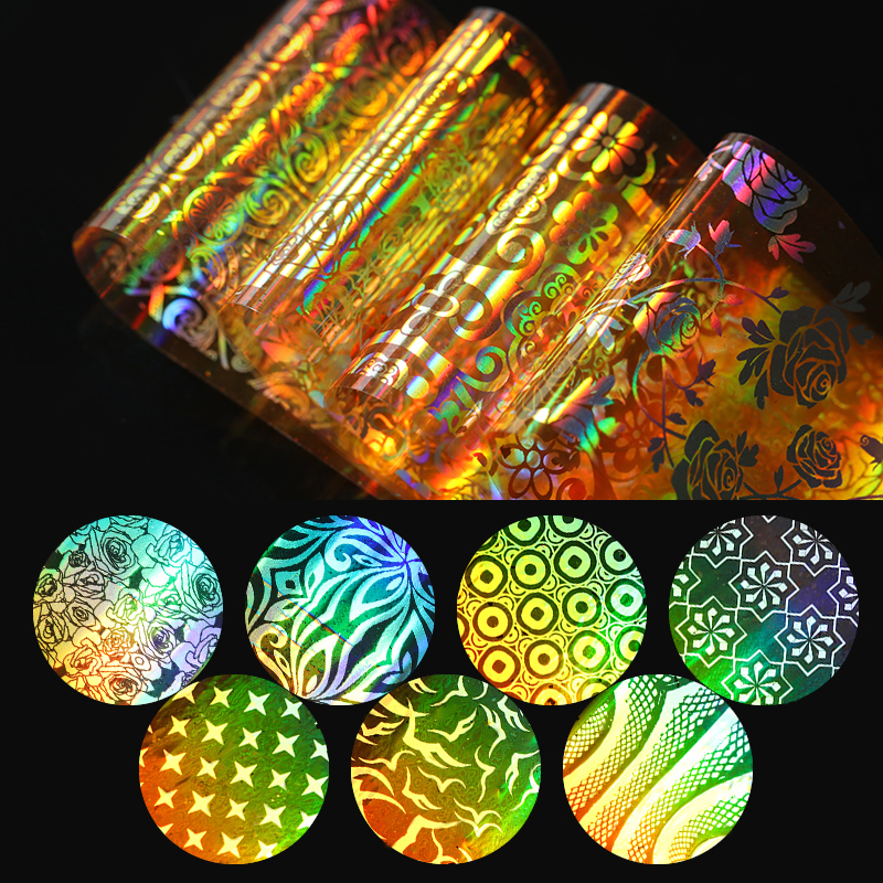 16Pcs Holo Gold Starry Nail Foil Flower Star Paper 4*20cm Manicure Nail Art Transfer Sticker for Nail Decorations mikado stream 4 серебро 61 holo