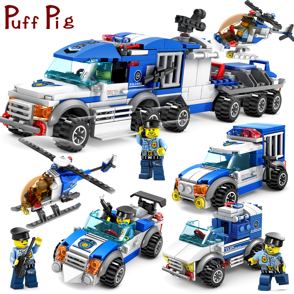 цена на City Police Series Cars Trucks Helicopter Model Building Blocks Set Compatible Legoed City Figures Weapon Toys For Children Boy