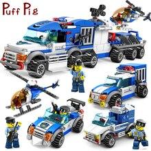 Город Полиция серии автомобили Грузовики вертолет модель здания Конструкторы комплект Совместимость Legoed город цифры оружие игрушечные лош
