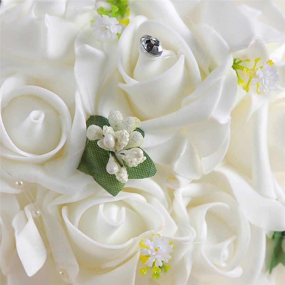 2017 Best Desgin Crystal Roses Pearl Bridesmaid Wedding Bouquet