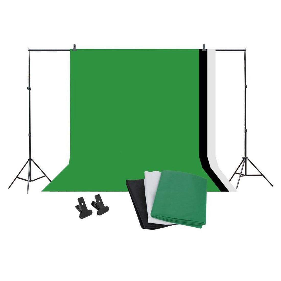 Kit de Support de fond de Studio professionnel-10x6. 5ft Kit de Support de toile de fond Photo + écran de fond (noir, vert, blanc)