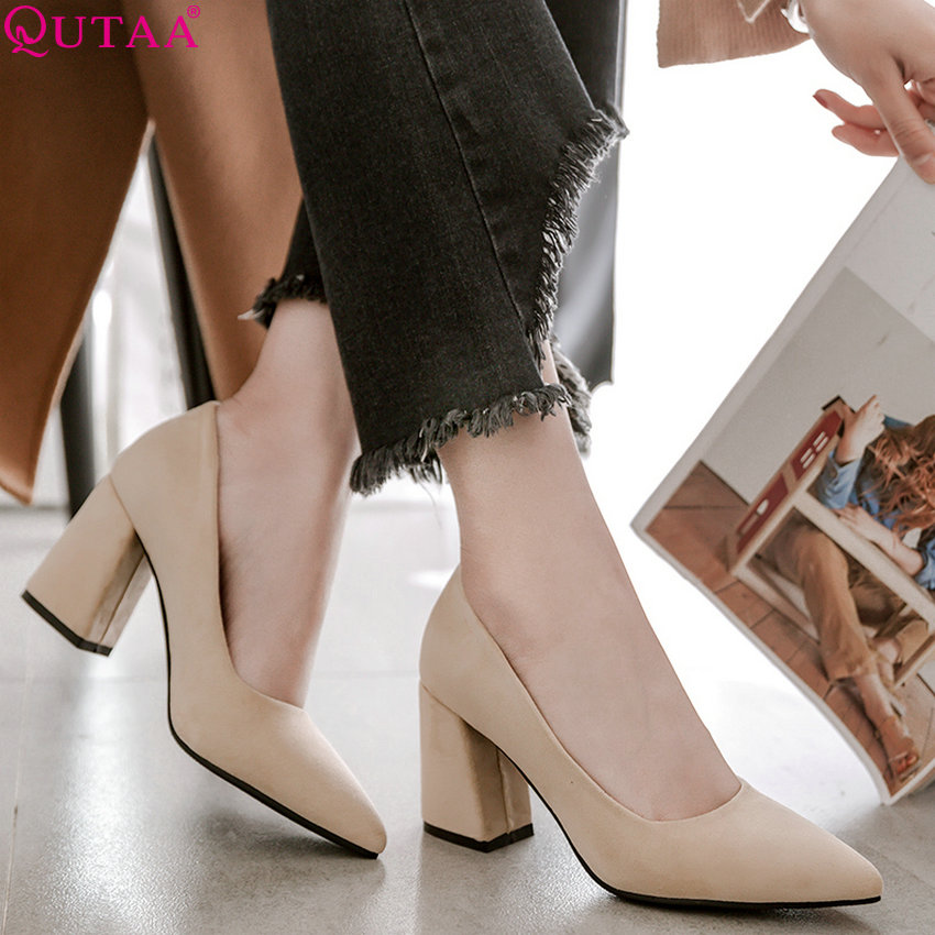 QUTAA 2020 Women Pumps Fashion Flock All Match Platform  Square High Heel Pointed Toe Casual Ladies Wedding Pumps Size 34-43