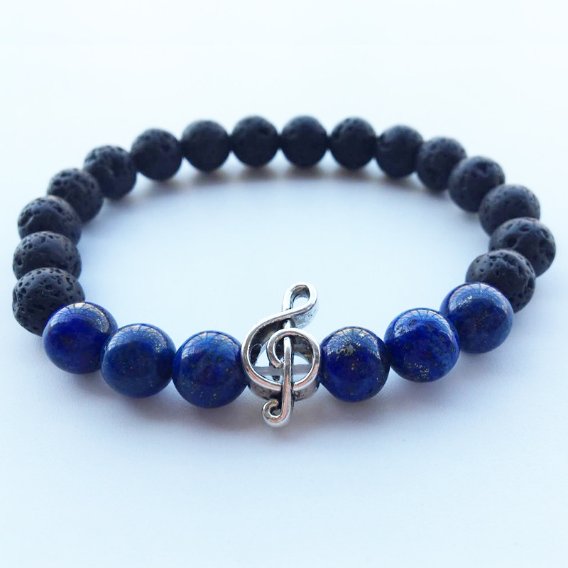 Vintage Blue Stone Music Note Women Bracelets for Best Friend Lava Beads Chakra Bracelets Male Braslet Pulseira Yoga Jewelry