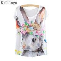 KaiTingu 2015 New Fashion Vintage Spring Summer T Shirt Women Tops Print T-shirt Rabbit Printed White Woman Clothes