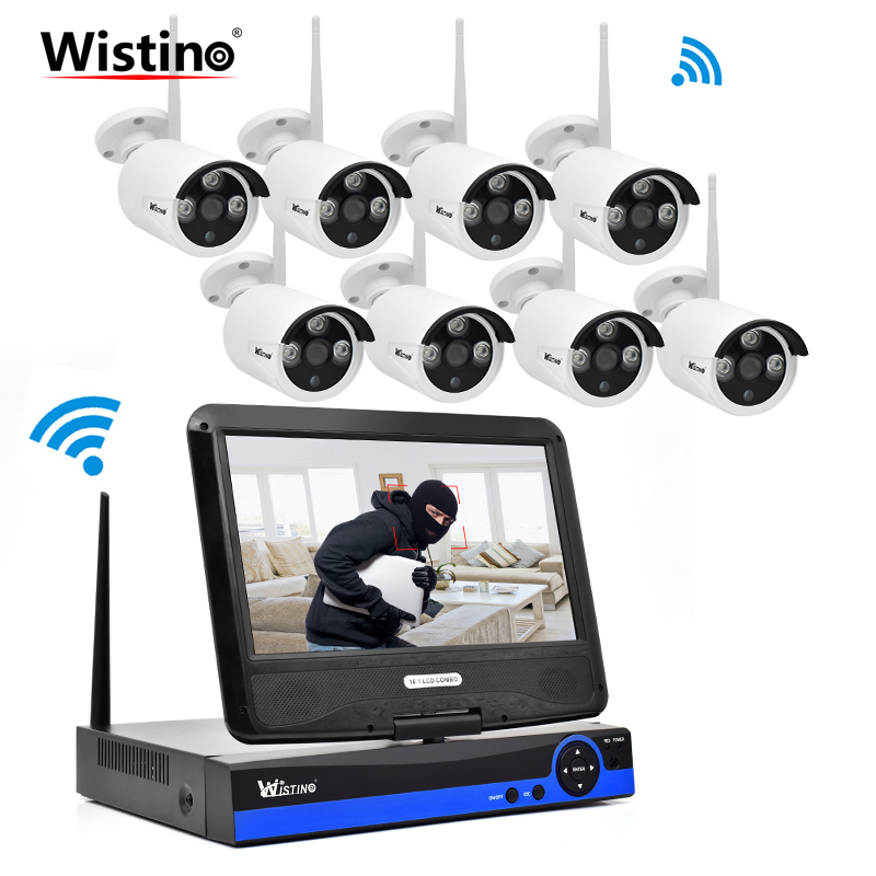 Wistino 8CH HD 720P Security Camera WIFI Kit NVR CCTV System IP Cameras Wireless Surveillance Video Monitor Outdoor LCD Screen