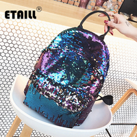 ETAILL Bling Bling Sequins Backpack Women School Bags PU Princess Backpack Bag Fahsion Small Travel Sequins Backpack Mochila
