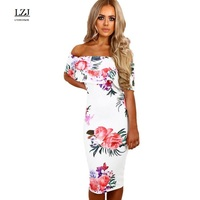 LZJ New Flower Print Word Leaped Back Shoulder Reclamation Office Pencil Dress 2017 Female Summer Clothing