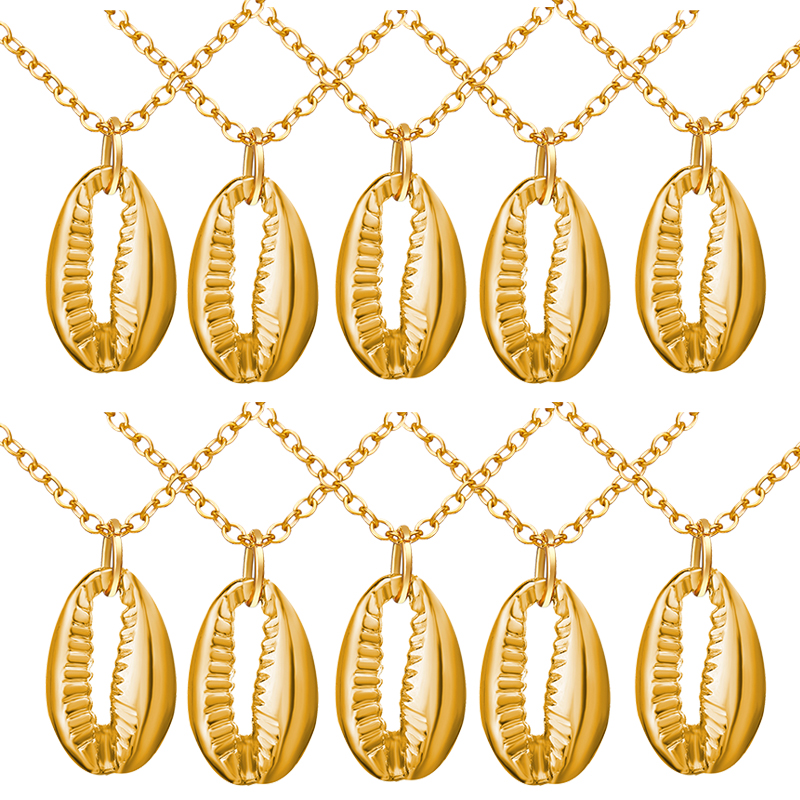 10 pieces Lot New Gold Boho Alloy Cowrie Shell Necklace Conch Pendant Chain Necklace Jewelry Sea Shell Collar for Women 2019 in Pendant Necklaces from Jewelry Accessories