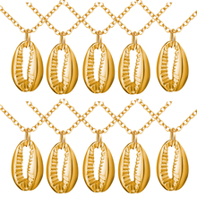 10 pieces/Lot New Gold Boho Alloy Cowrie Shell Necklace Conch Pendant Chain Jewelry Sea Collar  for Women 2019
