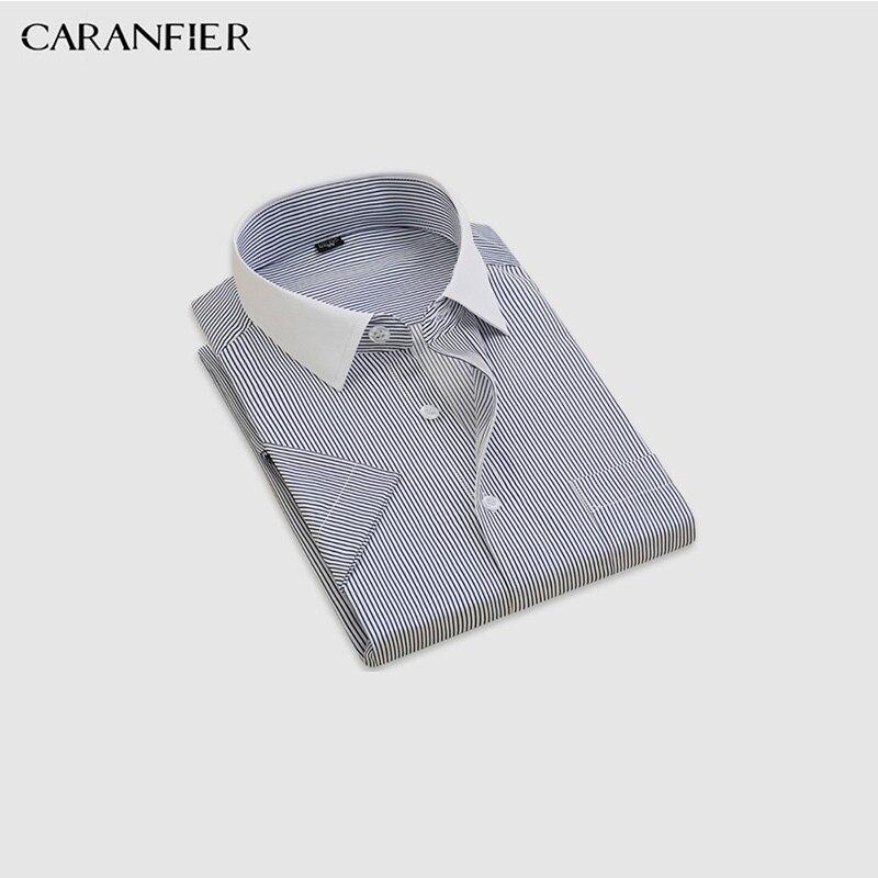 Dress Shirts Caranfier Mens White Collar Striped Shirts Men Dress Shirts For Business/office Wear Men Formal Social Shirt Easy Care 16 Styles Shirts