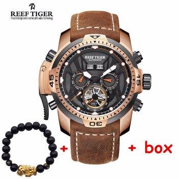 Reef Tiger brand new design Gent Sport Watches men Complicated Multi-fuctional Automatic Calfskin Strap Watch relogio masculino 機械 式 腕時計 スケルトン