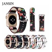 JANSIN Beautiful Pattern Flower Design Genuine Leather Loop Band For Apple Watch Iwatch Strap Series 1