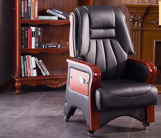 Купить с кэшбэком Real leather luxurious reclining chair. Solid wood four-legged computer chair. Fixed armrest leather art office chair.27