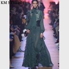 7a3ce476b1b5 Australia Tide brand 2018 Catwalk New Style Flowing Maxi Dress Bow Lace  Stitching Ruffled Long Sleeve