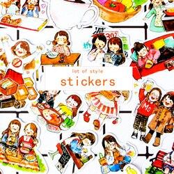 1 torba Cute cartoon girl papierowa naklejka pakiet DIY dekoracyjna naklejka na pamiętnik album planner scrapbooking kawaii biurowe