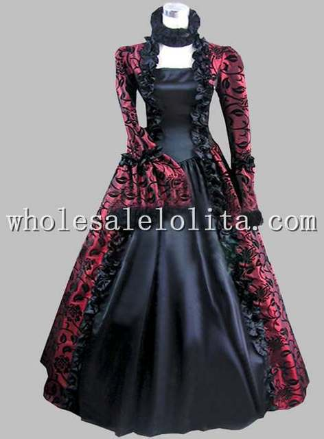 Gothic Purple and Black Floral Print Vintage 18th Century Party ...