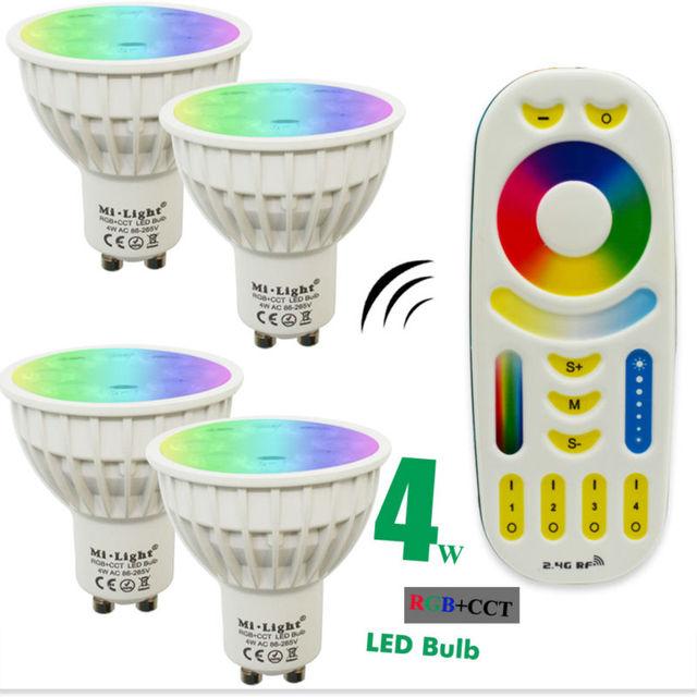 4 w mi luz diodo emissor de luz da lâmpada do bulbo dimmable mr16 gu10 rgb cct (2700-6500 k) holofotes Interior Decoração + 2.4G RF LEVOU Controle Remoto