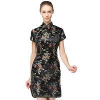 Black Traditional Chinese Dress Women S Satin Qipao Summer Sexy Vintage Cheongsam Flower Plus Size S