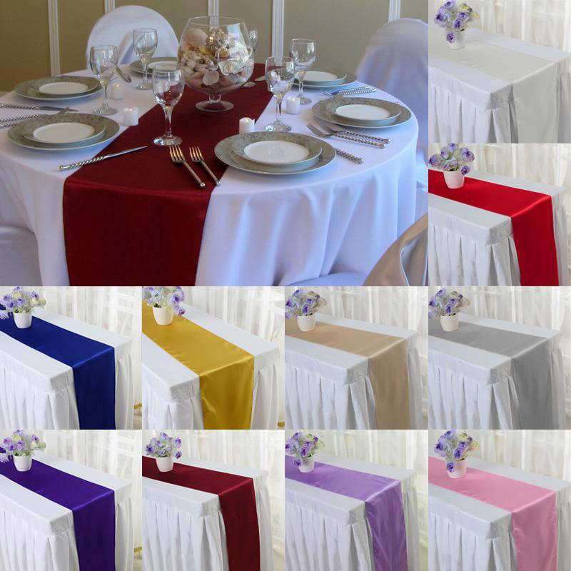 Modern  Banquet Hotel Satin Tablecloth Home Party Wedding Decor  Table Flag Good Quality Satin Table Runner Festival Supply