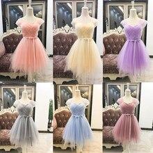 Милое розовое платье подружки невесты es фиолетовое Дешевое короткое платье подружки невесты SW0030 белое, розовое, виноградное, цвета шампанского