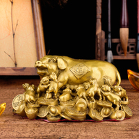 Feng Shui Handmade Chinese Attracting Wealth Pig with little pigs Statue Decoration Gift Brass Finish Pig Collectible Figurines