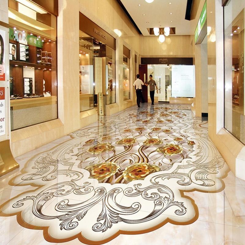 Custom Photo Wall Paper European Style Gold Rose Reliefs Marble Murals Wallpaper Living Room Hotel 3D Floor Tiles PVC 3D Sticker