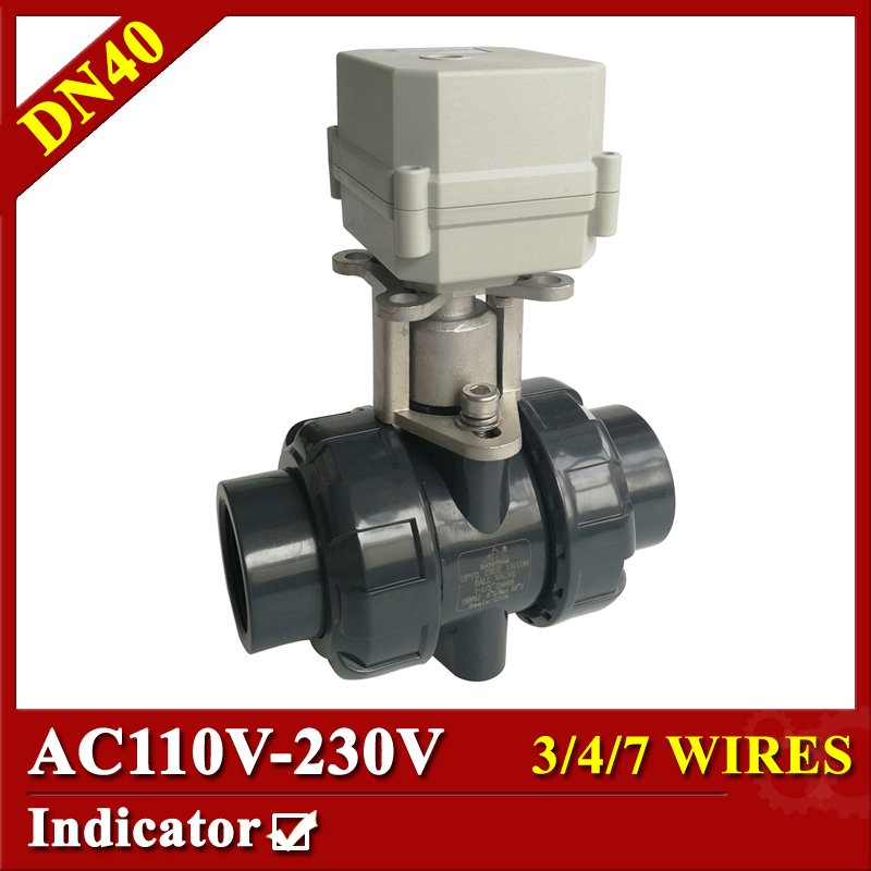 Tsai Fan motorized ball valve 1 1/2 AC110-230V 3/4/7wires electric ball valve plastic DN40 power off return for HVAC systems 1 2 ss304 electric ball valve 2 port 110v to 230v motorized valve 5 wires dn15 electric valve with position feedback