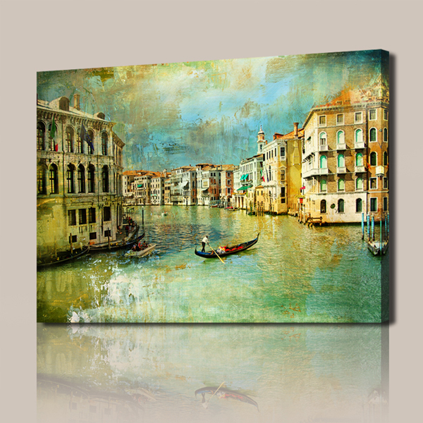 free shipping beautiful small town landscape painting canvas art painting canvas paintings. Black Bedroom Furniture Sets. Home Design Ideas