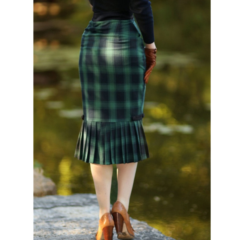 4fbf38691 40- women vintage 40s frenchie pencil skirt in green tartan elegant plaid  high waist wiggle
