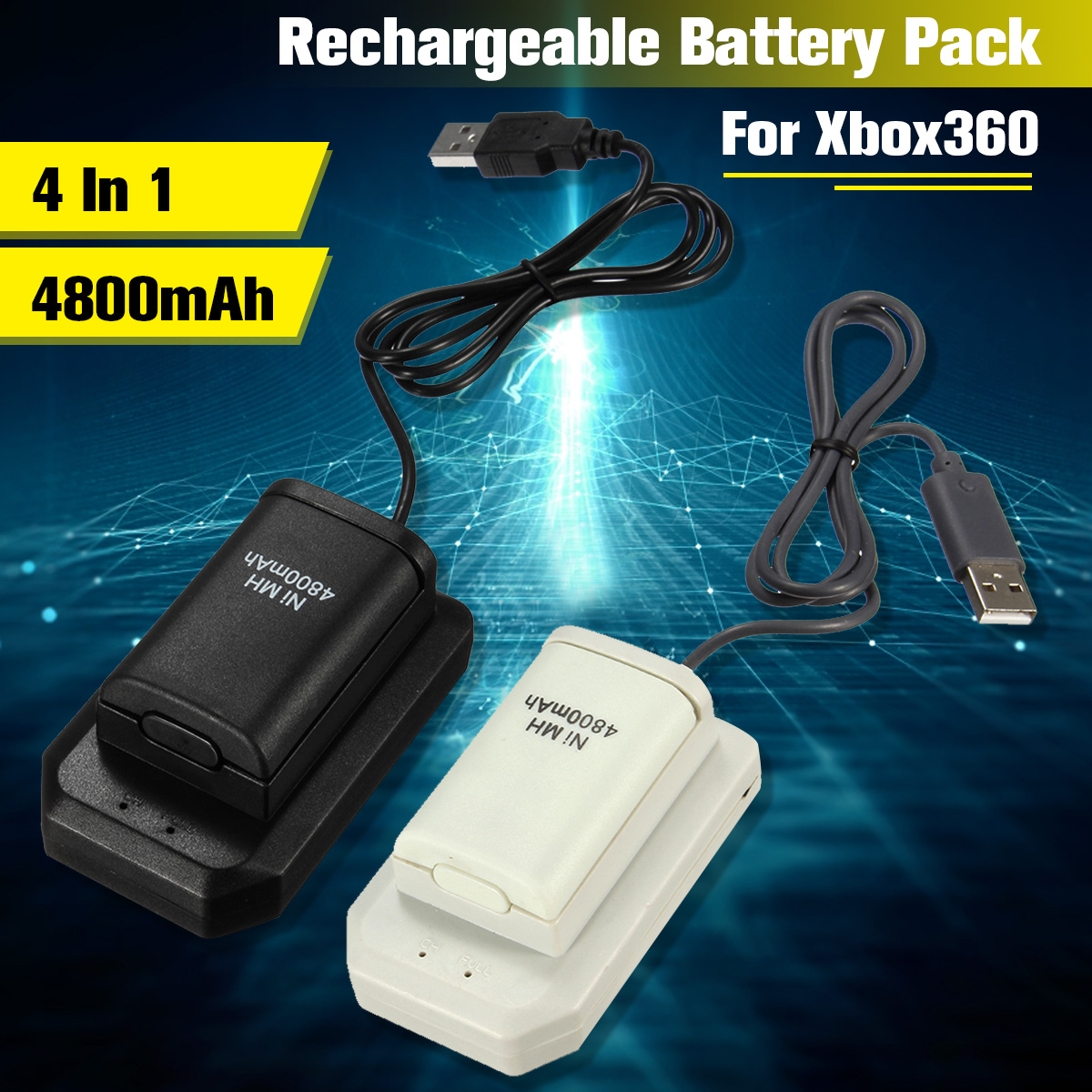 4 In 1 4800mAh Rechargeable Battery Pack Batteries+Charger+Usb Cable Charging Kit For Xbox 360 Battery Wireless Controller