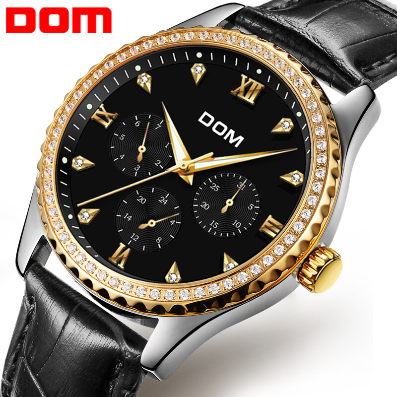 DOM Men's Watches Top Brand Luxury Waterproof Gold Quartz Wristwatch Date Week 2018 New Arrival Leather Strap Watch Clock M-39 fitt ic 1 2 50 idro color