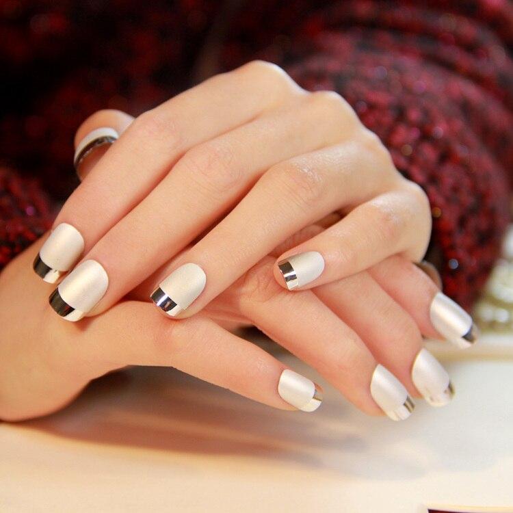 Negro mate textura borde de Metal tiras de uñas postizas de francés ...