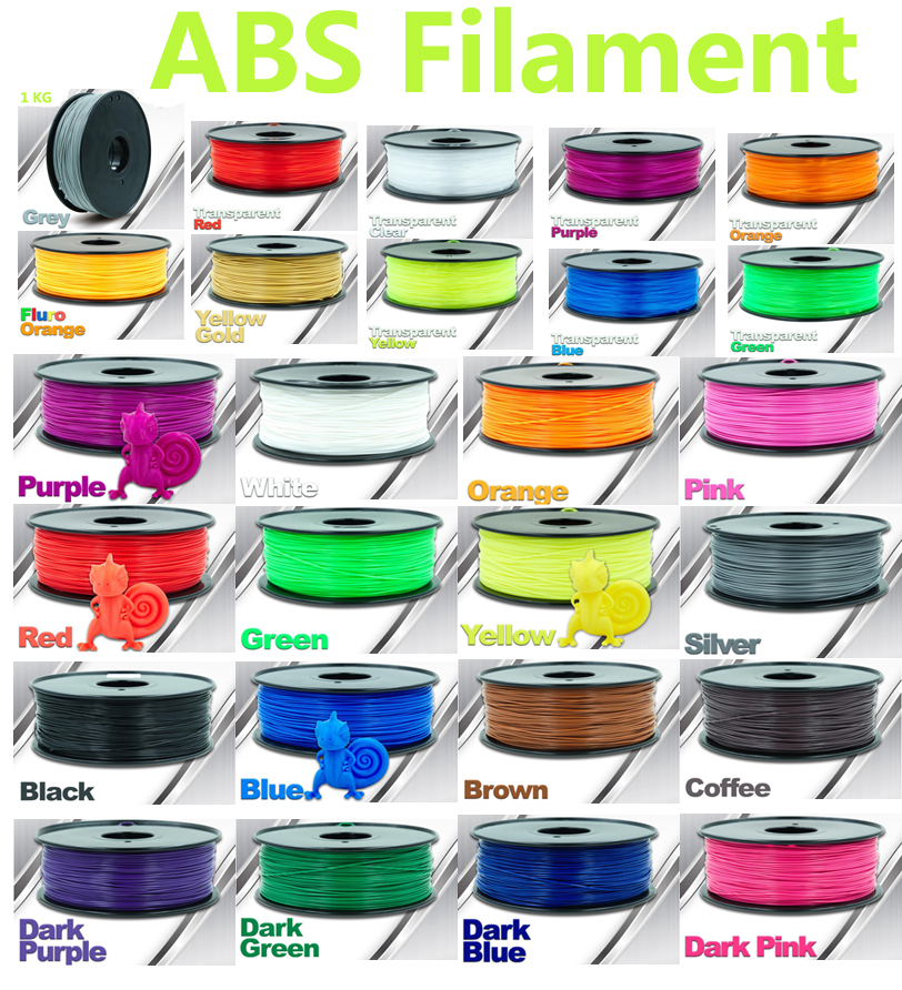 30 color choice abs filament 1kg 3d printer filament CHIMEI material abs 1.75 3d plastic filament high quality filamento abs pla filament 3 00mm 1kg 2 2lbs white color for 3d printer plastic reprap wanhao makerbot free shipping