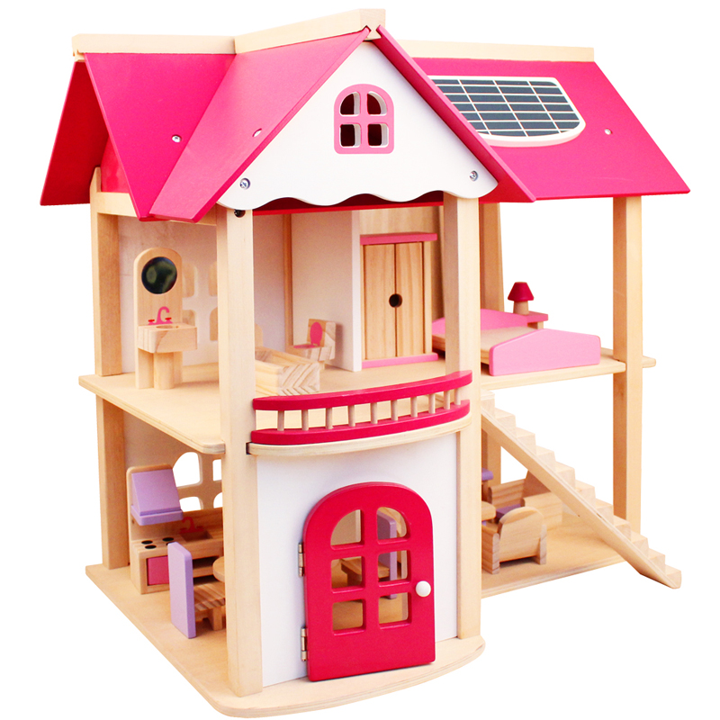 Montessori enfants jouet rose enfants chambre bâtiment ressemblent bricolage bois préscolaire Brinquedos Juguets