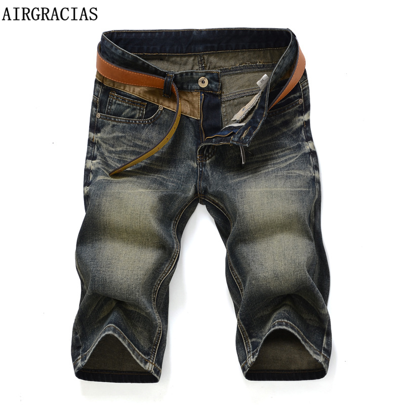 AIRGRACIAS 2019 New Arrive Shorts Men Jeans Brand Clothing Retro Nostalgia Color Denim Bermuda Short For Man Jean Size 28-38