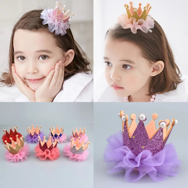 1PC New Fashion Girls Star Shiny Hairpins Princess Crown Hair Clip Flower Lace Pearls Handmade Hair Accessories Barrette Jewelry m mism new arrival girls yarn hair accessories pearls crown shaped fabric hairpins bb christmas dancing party princess hair clip