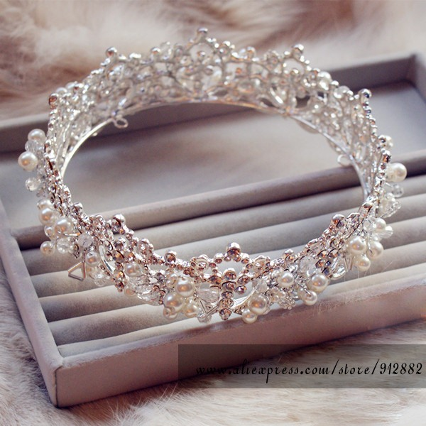 تيجان ملكية  امبراطورية فاخرة 2017-Huge-Big-Silver-Plated-Full-font-b-Crowns-b-font-Royal-tiaras-and-font-b