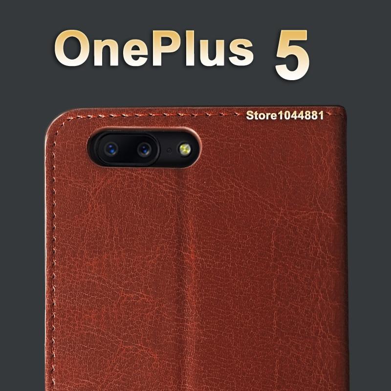 5 T OnePlus 5 T Kasus Cover Kulit Crazy Horse balik Pu Kasus Untuk - Aksesori dan suku cadang ponsel - Foto 2