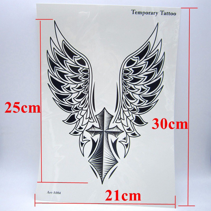 1pcs Big Cool Mens Cross Wing Tattoos,Beautiful Arm Back Cross Wings Waterproof Large Temporary Tattoo Stickers For Men 30*21cm 2