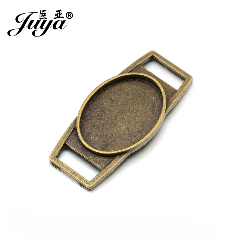 JUYA Charms Pendant Findings 4pcs/lot 18x25mm Vintage Connector for DIY Bracelet Oval Cameo Cabochon Base Setting AD0106