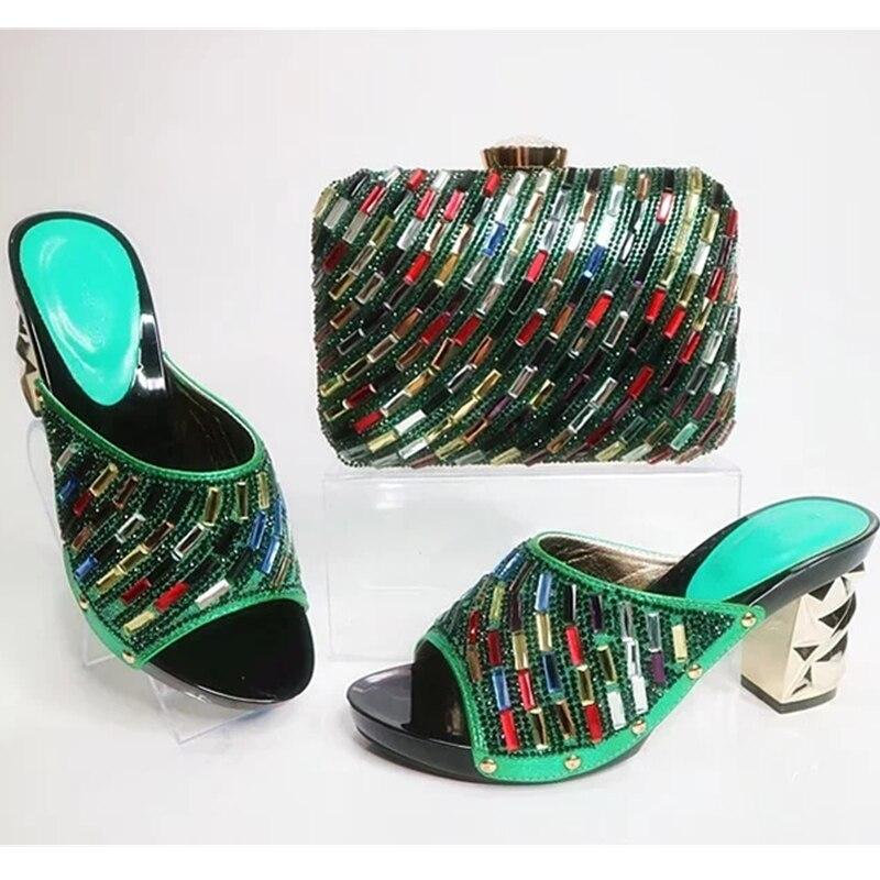 Et Sac vert Bleu Mis Couleur En Italiennes Nigérian rouge Or Strass Ensemble Femmes Chaussures Italie Avec Décoré or 5Eqw6nap