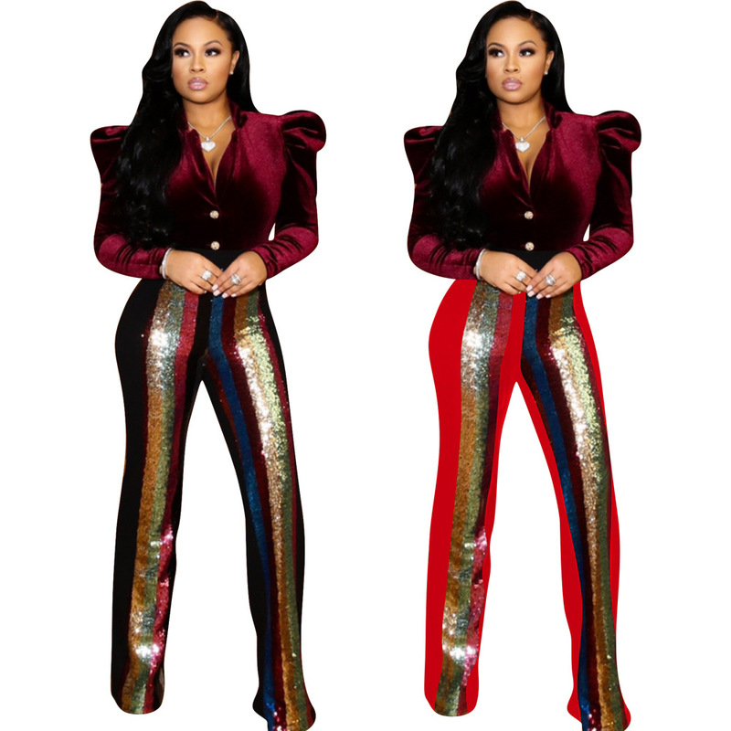 Women Sequin Patchwork   Wide     Leg     Pants   Ladies Black Red Trousers Sparkly Pantalon Party Sexy Club High Waist Long Flare   Pants