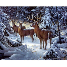 Megayouput diamond embroidery 5d diy  painting cross stitch Elk in the snow Scenery mosaic pattern wall sticker gift