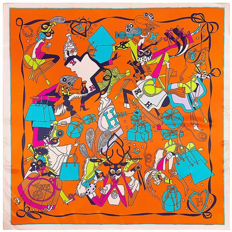 POBING 90cm*90cm Silk Square Scarf Women Element Bag Print Foulard Big Hijab Bandana Lady Neckerchief High Quality Silk Scarf