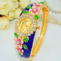 Women Brand Luxury Chinese Style Bracelet Gold Dress Watch Folk Style Lady Gold Bangle Enamel Diamond Bracelet Quartz Wristwatch