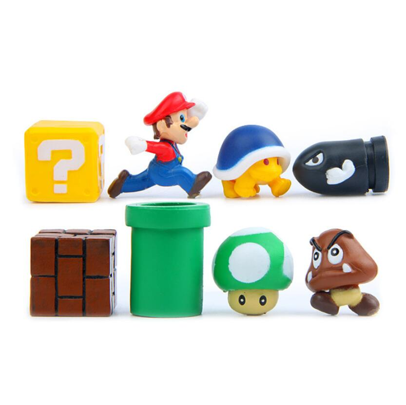 3D Super Mario Bros Action Figurine Toys  Mario Luigi Peach Toad Mushroom Yoshi Mini Action Figure Micro Landscape  Resin Figura